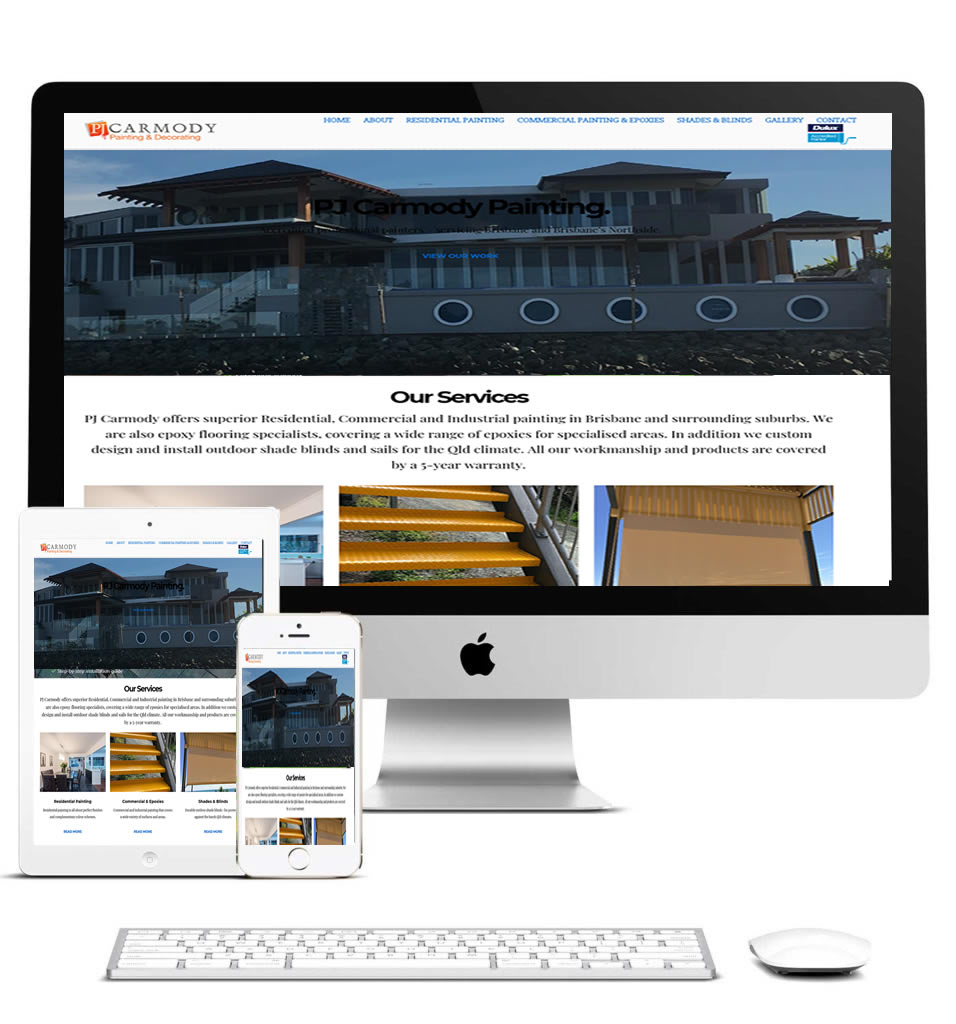 PJ Carmody Painting & Decorating website designed by Webscape
